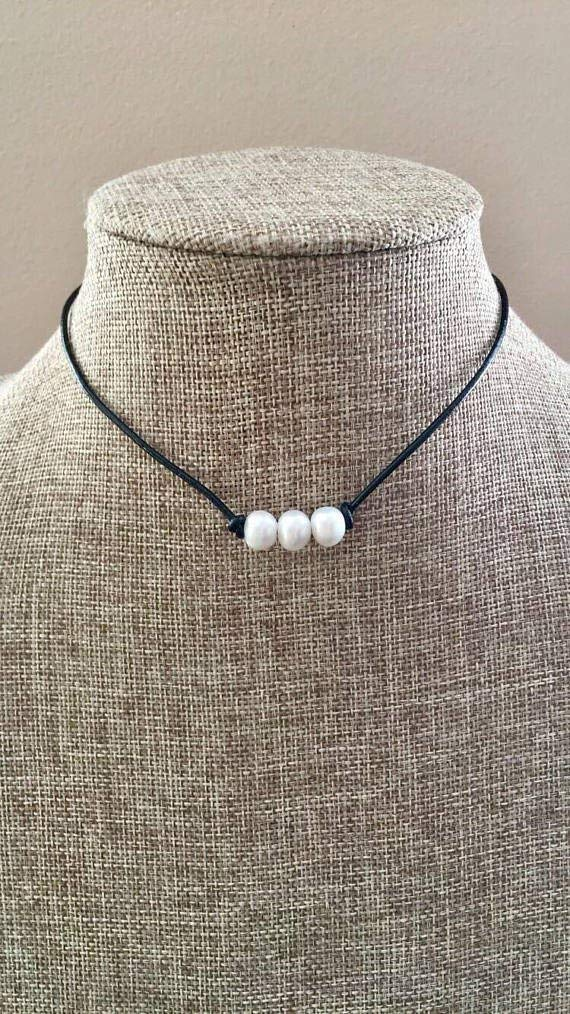 Small Pearl Leather Three Pearl Choker Necklace 3 Freshwater Pearls Brown Black Natural Leather Cord Choker