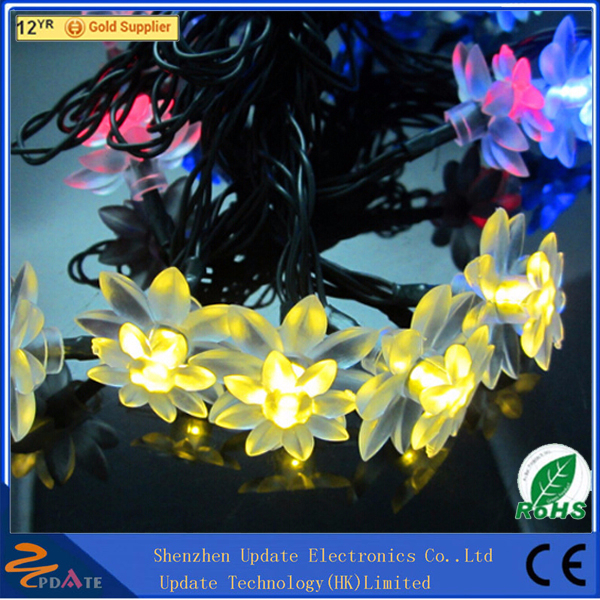 Supper Quality Christmas Decoration 20 Lotus Flower Solar Warm White LED String Light With Factory Wholesale Price