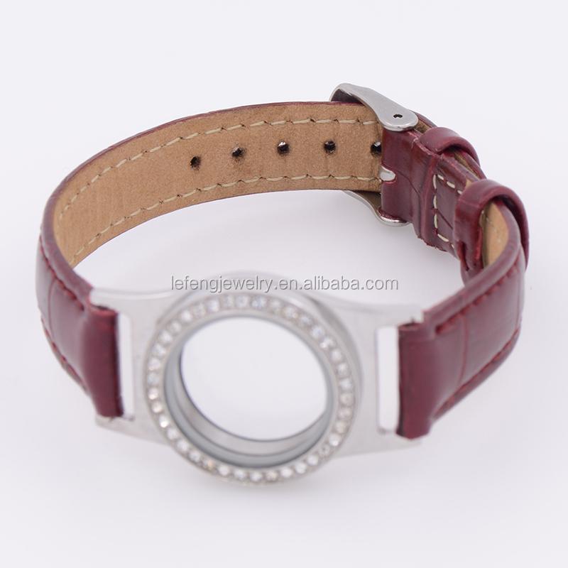 En cuir wrap bracelet médaillon personnalisé pas cher bracelets en tissu,  flottant montre médaillon