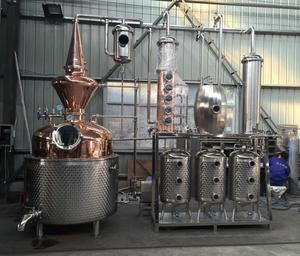 Copper alcohol distillation equipment / multiple distiller machine with Columndistiller machine and Column for Whisky making