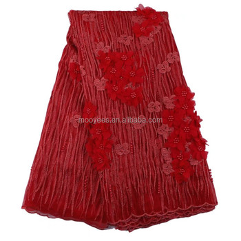 3D lace fabric african guipure beaded lace fabric with rhinestone cord fashionable for elegant dress