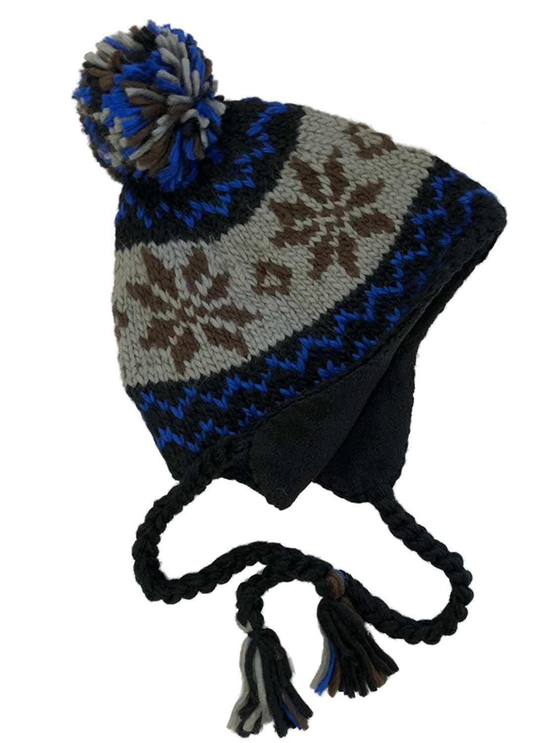 b075ac110f0 Get Quotations · Free Authority Mens Black Blue   Gray Snowflake Pom Top  Peruvian Trapper Hat