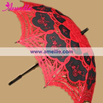 Lolita Lace Parasol Red Black Colors