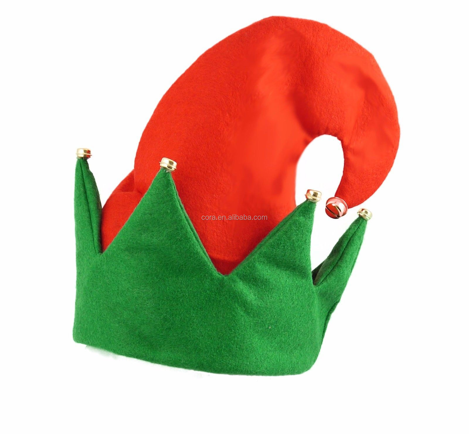 Ladies Velour Christmas Elf Hat with Bells Red Green Xmas Fancy Dress Hat