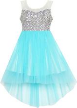 Sunny Fashion Girls Dress Blue Sequin Mesh Party Wedding Tulle Kids Children Clothes 7-14 Girl Summer Princess Dresses Vestidos