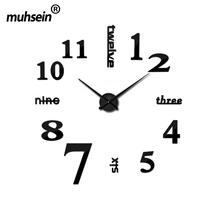 Muhsein Fashion 3D Big Size Wall Clock Mirror Sticker DIY Brief Living Room Decor Meetting Room Wall Clock