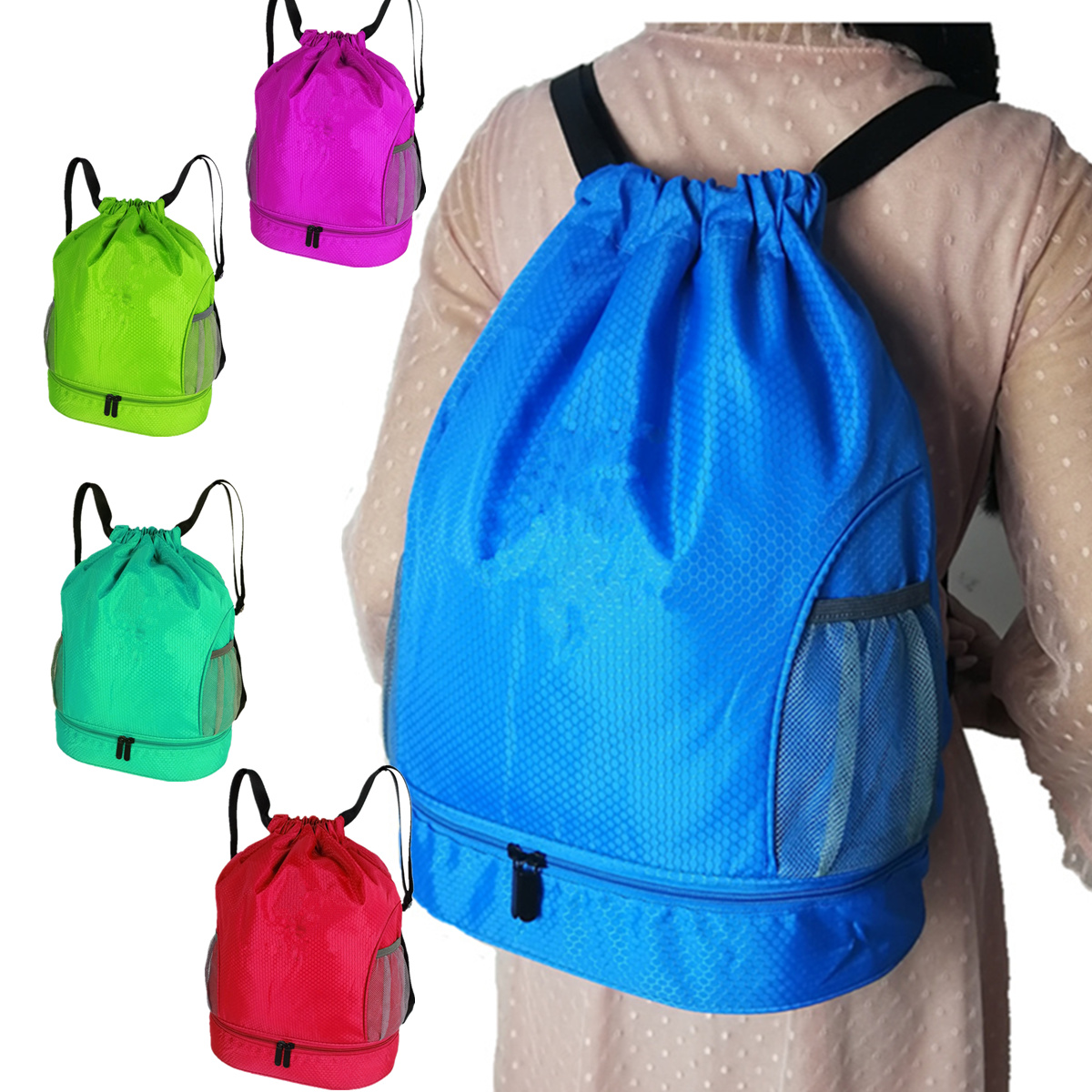 Well Priced Extra Custom Color Gym Washable Transparent Interlayer Inside Organized Drawstring Backpack For Sports
