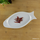 "13.4"" inch fish shape white glaze porcelain restaurant dining food server high grade quality shallow ceramic low price plate"