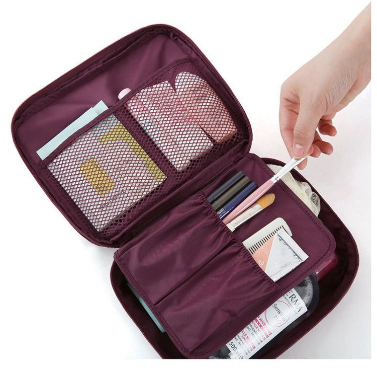 Pink Smiley Face Zipper Portable Makeup Case With Compartments Travel Cosmetic Bag Custom Logo