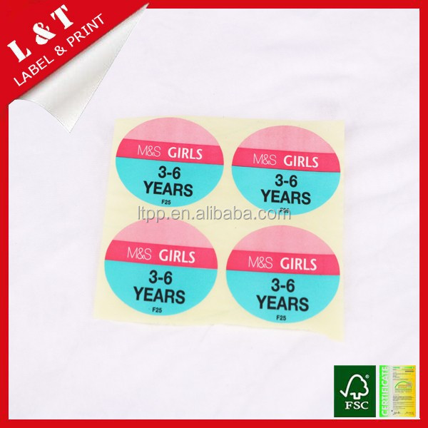 No harm baby clothes size stickers