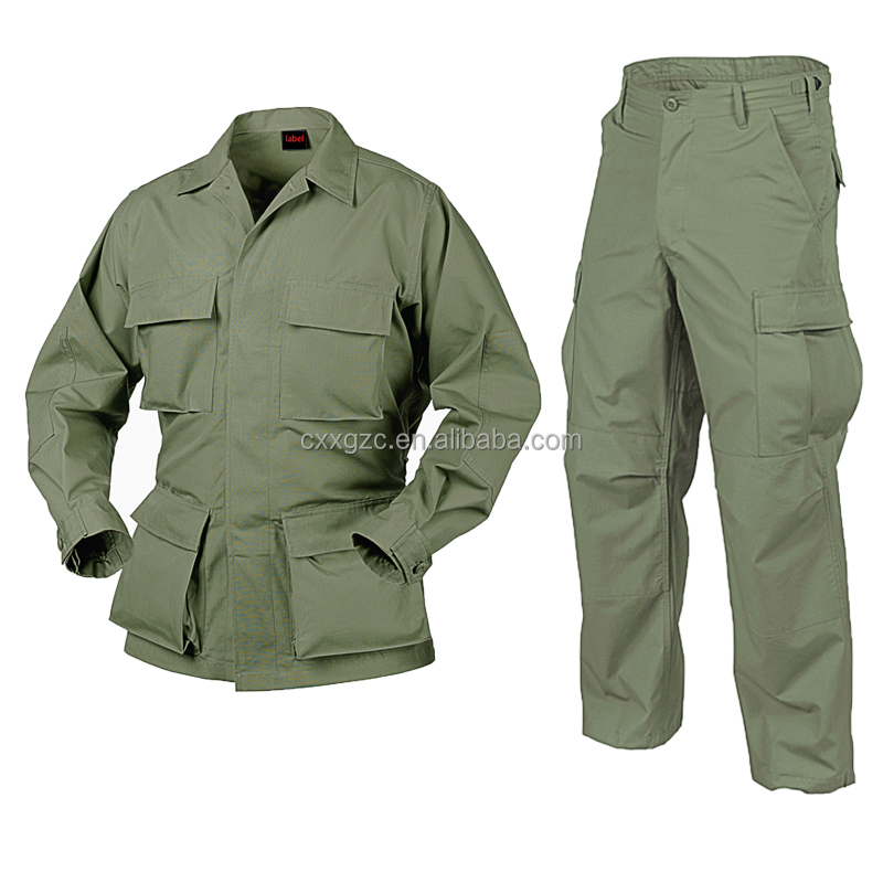 Olive Green Military Uniform BDU Custom OD Green Military Shirt Ripstop Fabric Sale