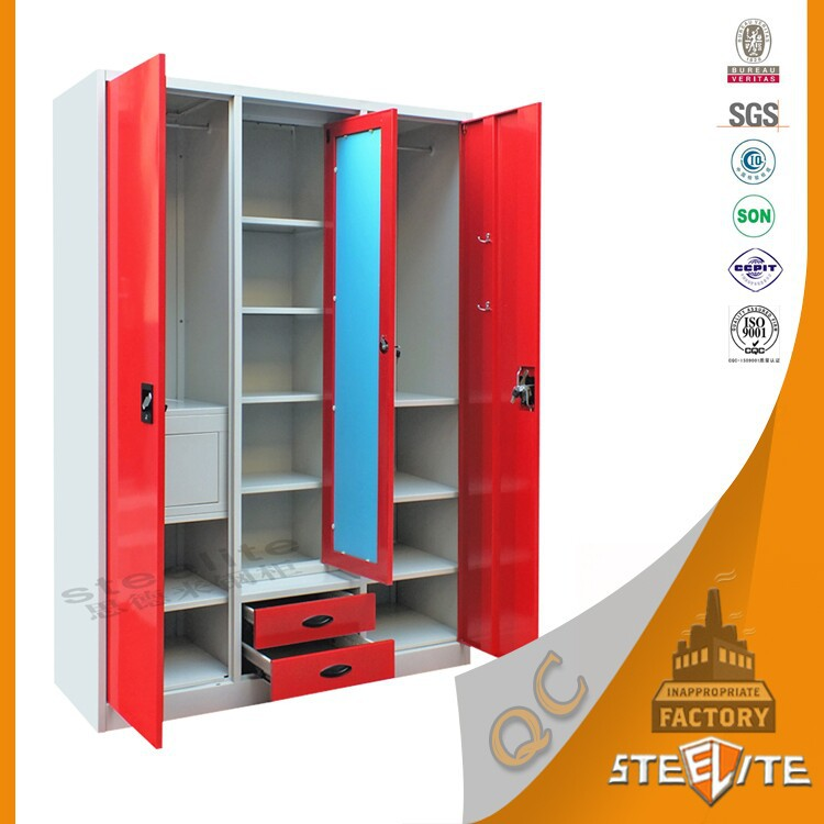Factory Price Home Furniture Bedroom Almirah Designs 3 Door Metal Clothes  Cabinet With Safe Locker Inside