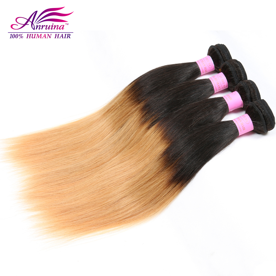Anruina Peruvian Virgin Straight Hair 3Pcs Blonde Peruvian Hair 10-30 Ombre Straight Hair Wholesale Peruvian Ombre Virgin Hair