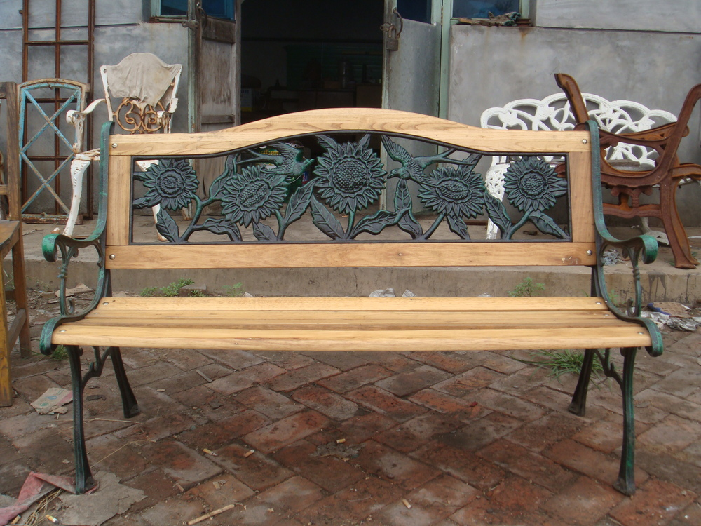 Cast Iron Antique Wooden Garden Bench View Cast Iron