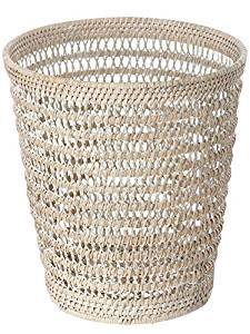 KOUBOO La Jolla Rattan Mesh Round Waste Basket, White Wash