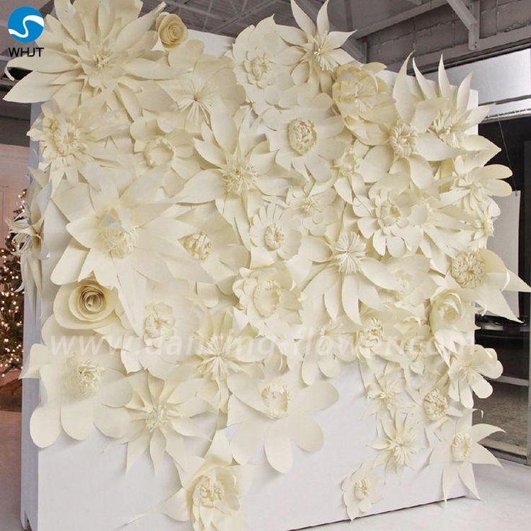 Artificial White Decoration Wedding Flower Backdrop Paper Flowers Wall