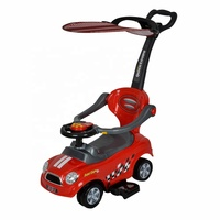 3 types kids push ride on toy car plastic baby car with canopy