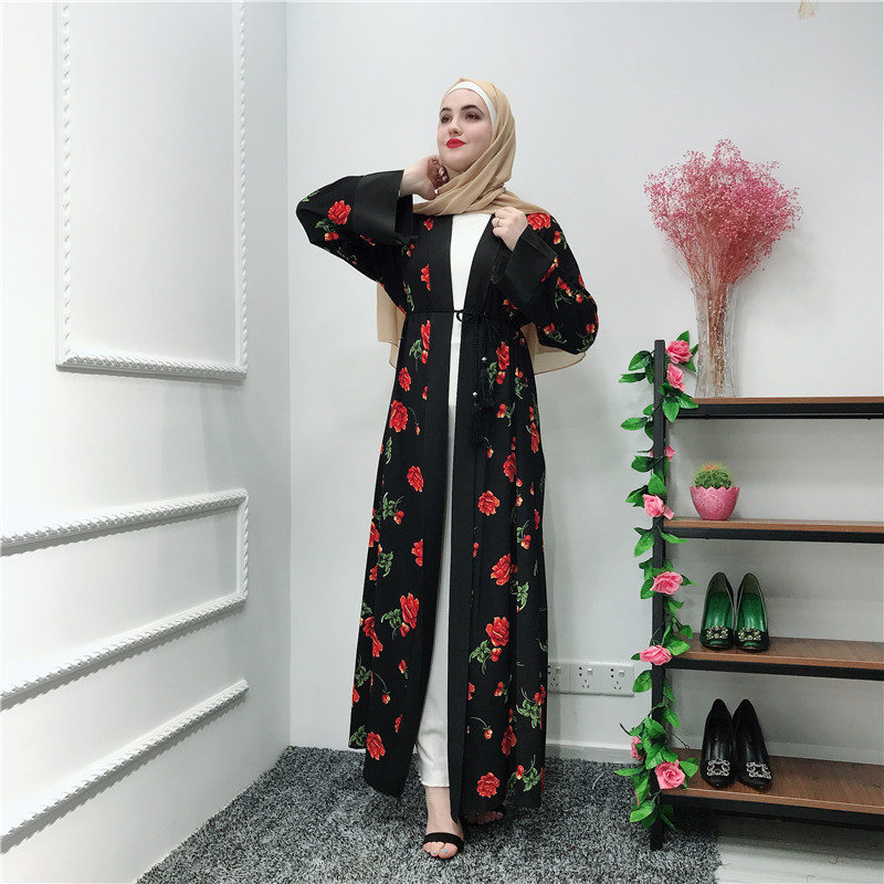 Latest dubai style muslim women islamic open abaya floral fashion abaya dress