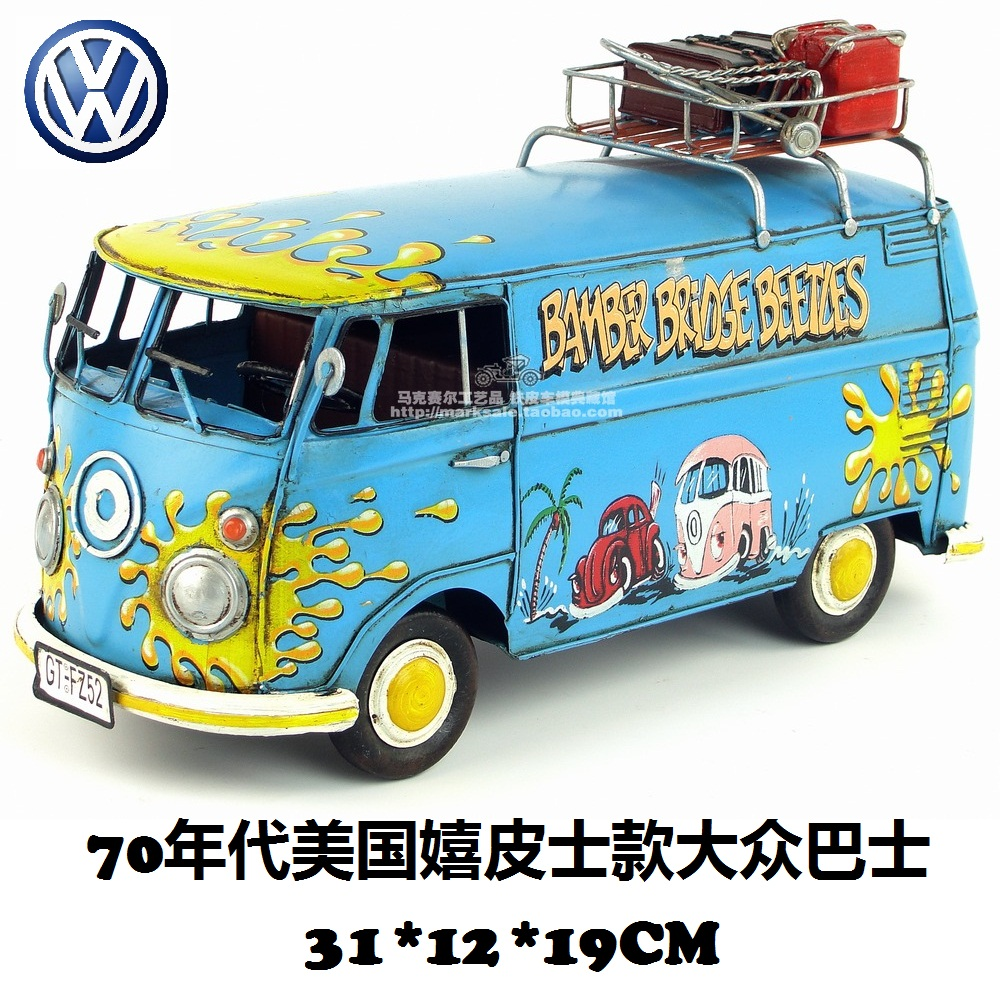 Hot Classic Retro American Hippie Volkswagen Bus Model Creative Mini Iron Bus Best Gift Home Bar Decoration