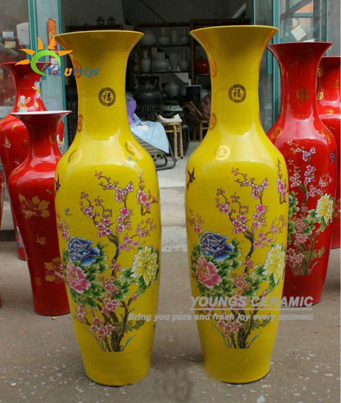 Delightful Chinese Ceramic Yellow Colour Large Decorative Floor Vases From 48inch To  88 Inches High For Wholesale