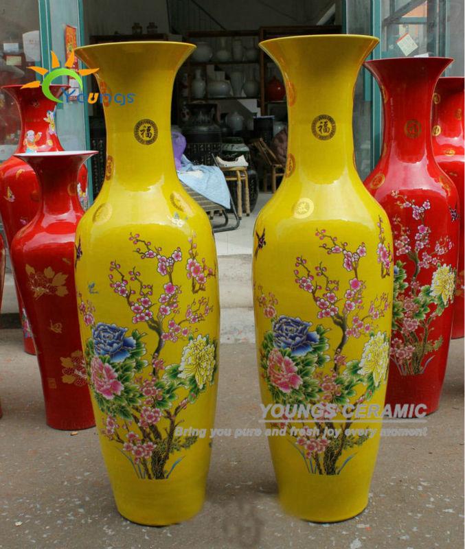 Chinese Ceramic Yellow Colour Large Decorative Floor Vases