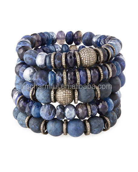 ST00313 Dumortierite Beaded Bracelet Stretch Bracelet BOHO Beach Pave Beads Bracelet