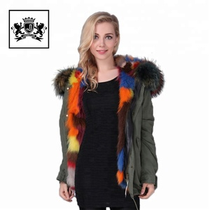Fashion parka women raccoon fur hood collar fox fur lined parka coat