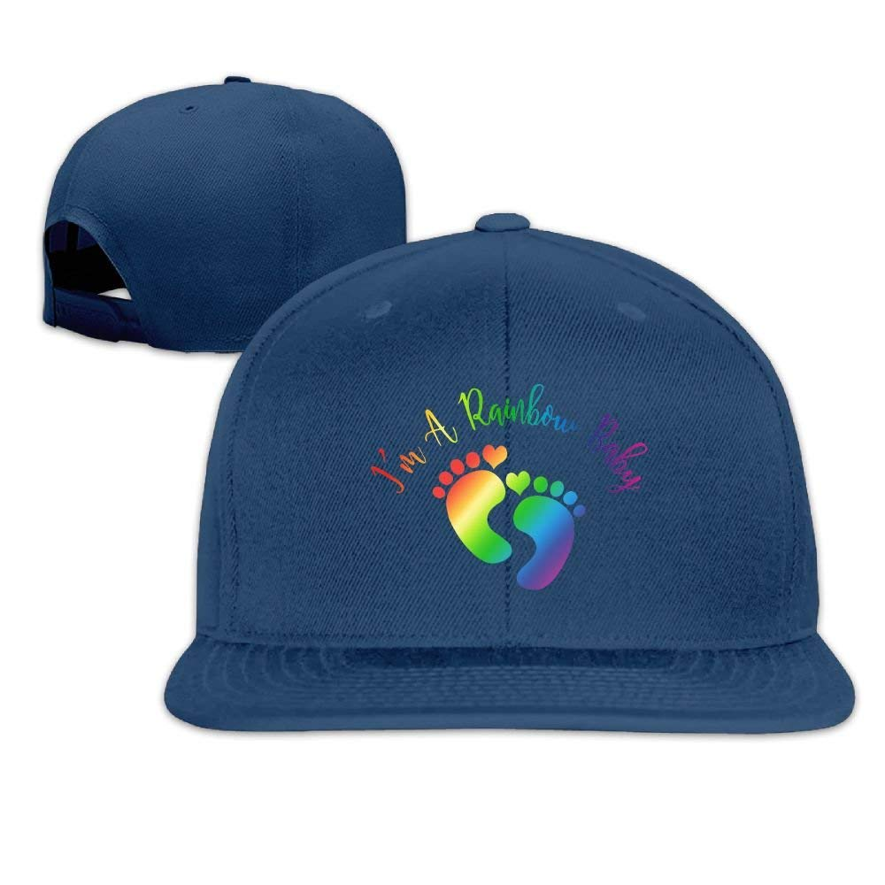 Get Quotations · Joapron Rainbow Baby Unisex Causal Fitted Flat Bill  Baseball Cap Black c1a07585e42