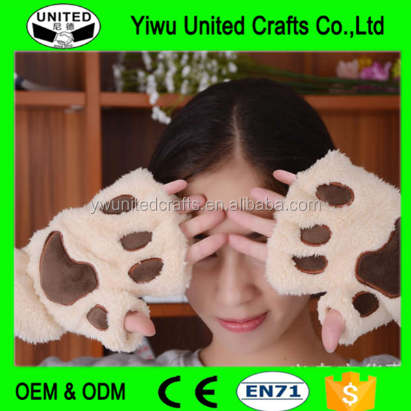 Bear Claw Animal Mittens Fingerless Gloves , fashional newest lovely , cute cartoon cat paw half gloves