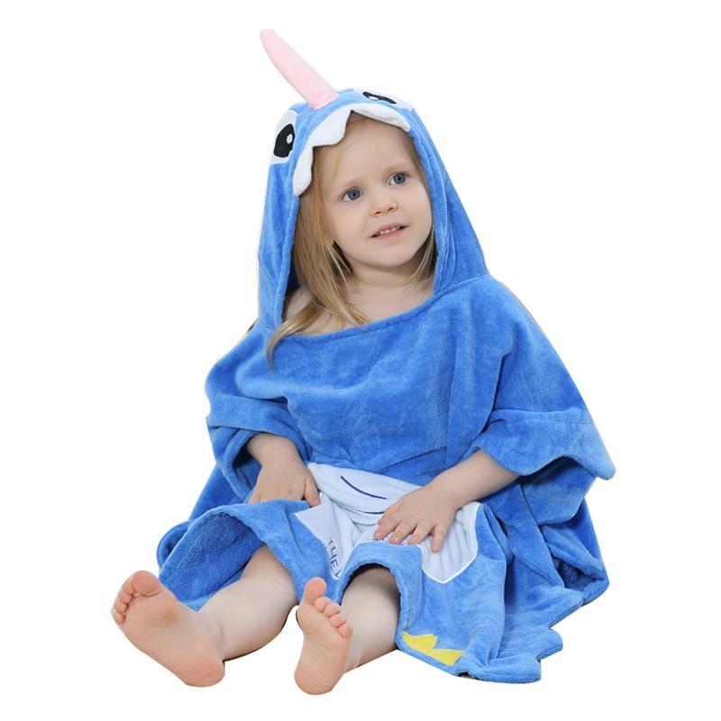 Hooded Animal Style Baby Bathrobe New Cartoon Cute Infant Towel Shark Character Baby Bath Robe Toddler