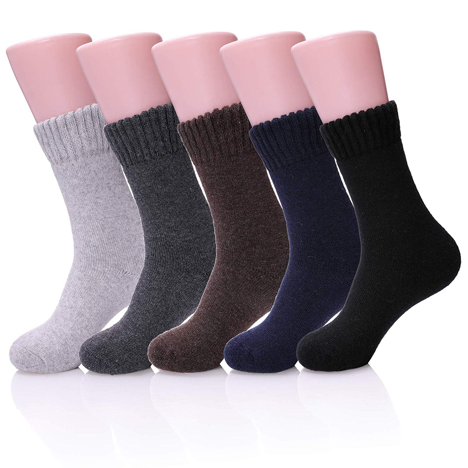 aa8d5a2528d Get Quotations · AOXION 5 Pairs Mens Thick Heavy Warm Comfort Wool Cotton Knit  Crew Winter Socks