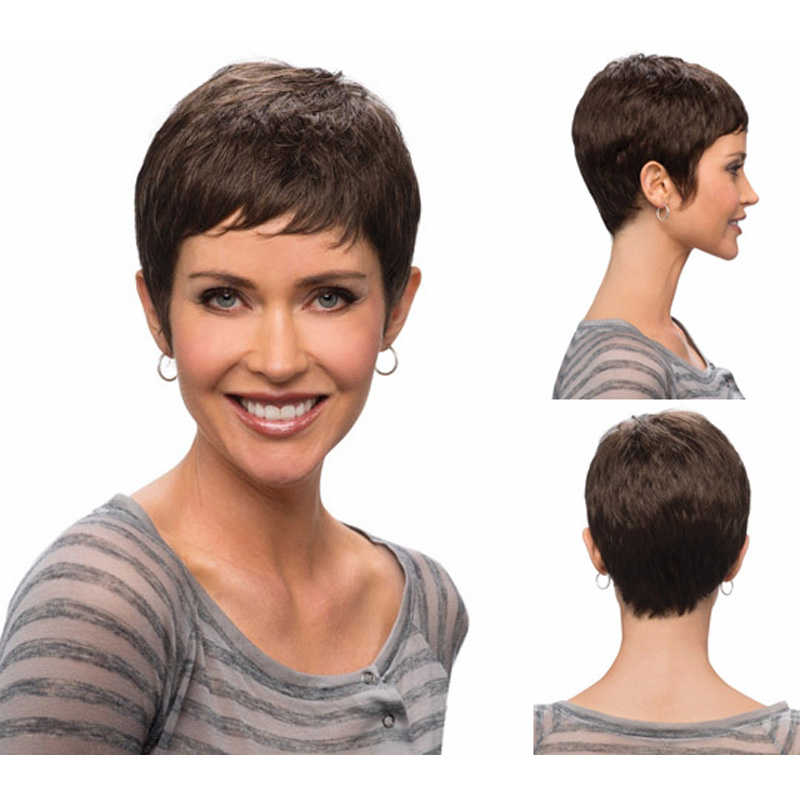 Get Quotations · Medusa hair products  Sleek Afro boy cut Short pixie wigs  for black women brown Synthetic 934b93f212