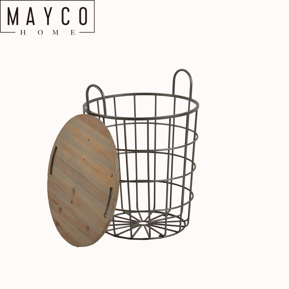 Mayco Home Organization Wood Lid Metal Rustic Wire Craft Storage Basket Side Table