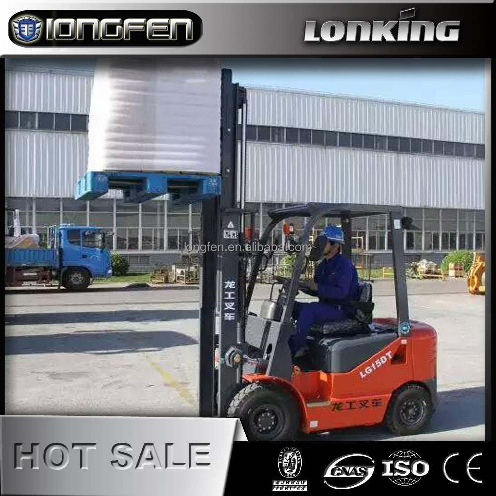 LG15DT china Lonking 1.5 ton light weight forklift with weichai 33kw engine