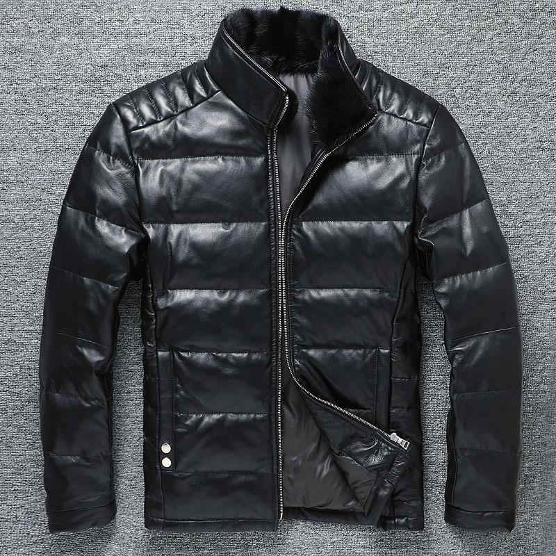 0a4f64647a4 Genuino de los hombres de piel de cordero engrosada chaqueta con pelo de  visón con capucha
