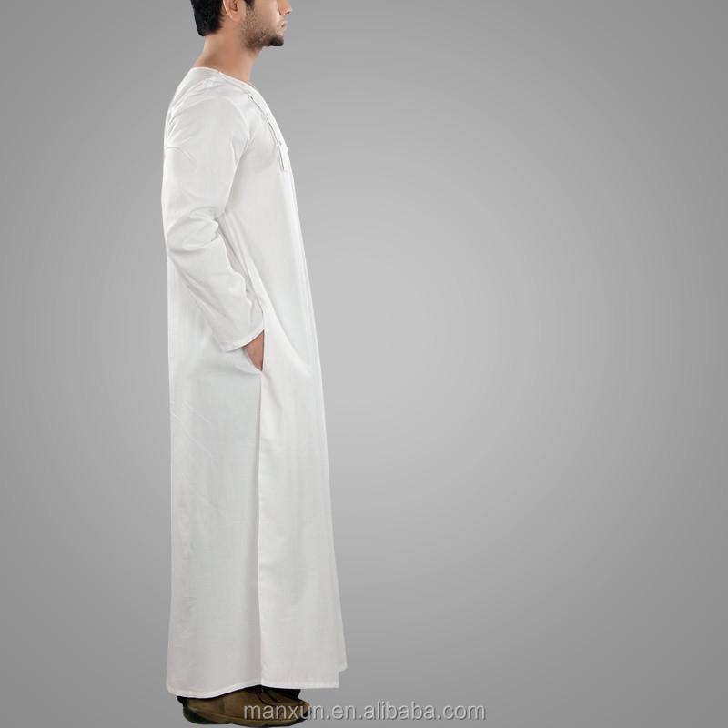 Simple White Jubba Thobe Round Collar Arab Thobe Men's Abaya