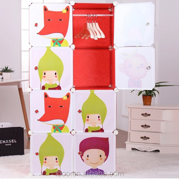 DIY online cupboards india red color wardrobe cartoon doors designs FH-AL0029-8