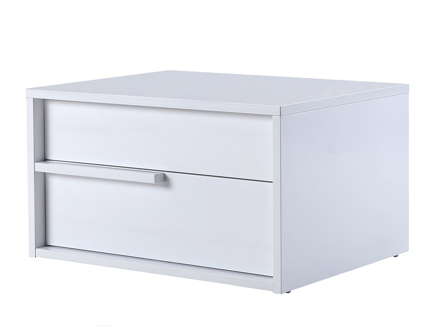 DOLCE High Gloss White Lacquer Left Side Nightstand / End Table by Casabianca Home TC-0210-L-N-WH - DOLCE High Gloss White Lacquer Left Side Nightstand / End Table by Casabianca Home