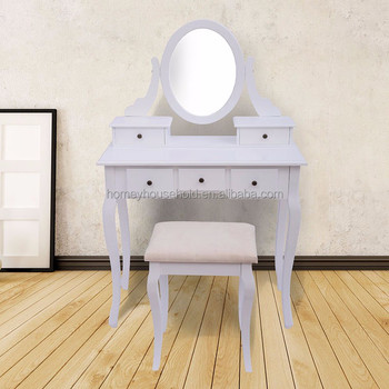 Vintage Dresser With Oval Mirror Shabby Antique Vanity Chic Cottage