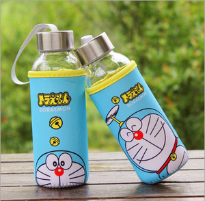 2017 300ml High quality and Hot Selling Customized Borosilicate Glass Water Bottle Sports Bottle