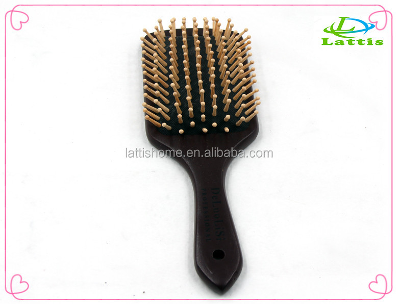 Detangling paddle hair brush for long hair wholesale natural custom wooden hair brush