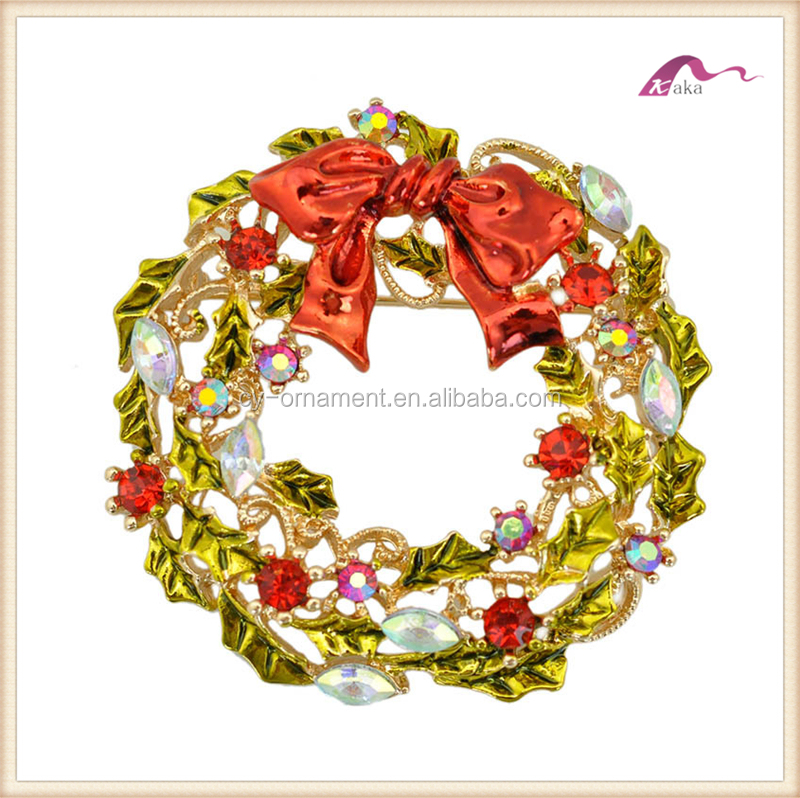 Women Christmas flower garland rhinestone brooch,fashion multicolor christmas jewerly brooch for women
