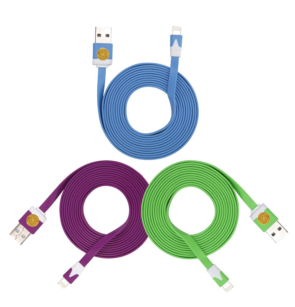 2M Heavy Duty Flat Noodle Lightning USB Cable for Apple iPhone 6,6S -Ple Blu Grn