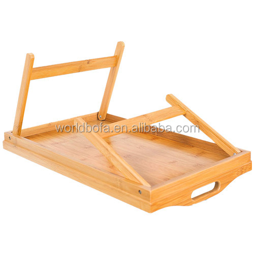 Bamboo Breakfast Table Serving Tray With Folding Legs And Handles