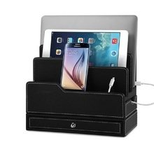 Leather USB organizer wood mobile charging station stand