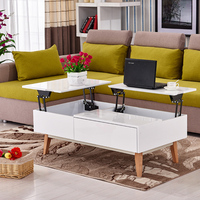 living room furniture wooden tea table with glass top design