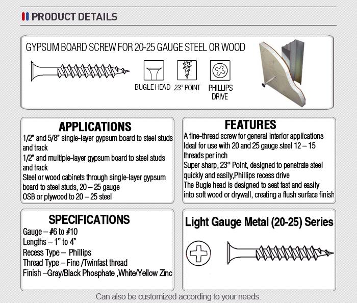China prego que faz a máquina de cabeça corneta drywall gypsum board 3.5x25 preto parafuso