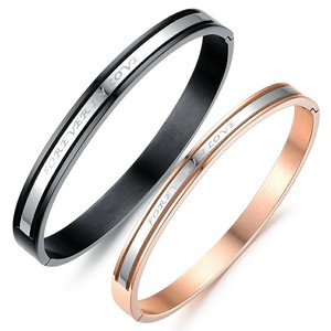 Marlary Hot Selling Modern Design Women And Men Forever Love Stainless Steel Gold Bangles