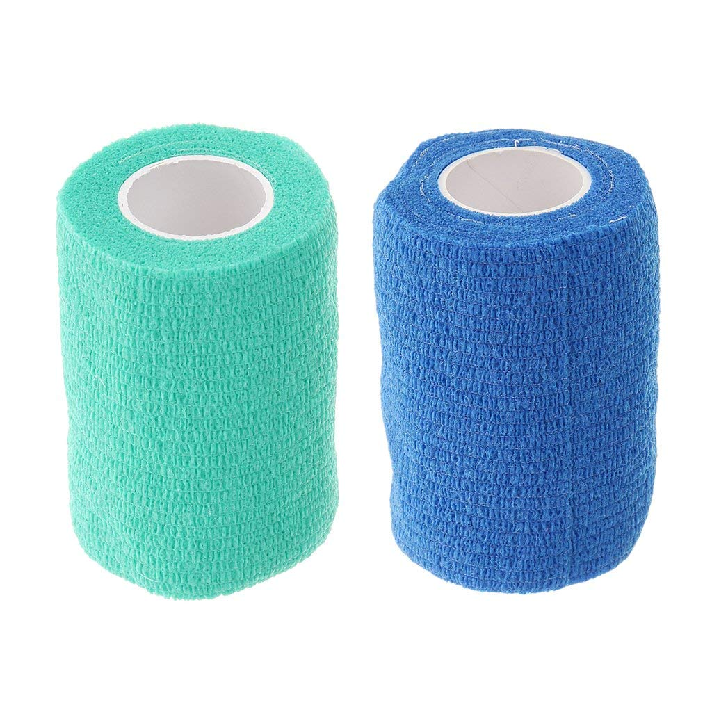 Baoblaze Pack of 2 Elastic Adhesive Bandage Wrap Stretch Self-Adherent Tape Wrist Ankle Protector Guard for Sports