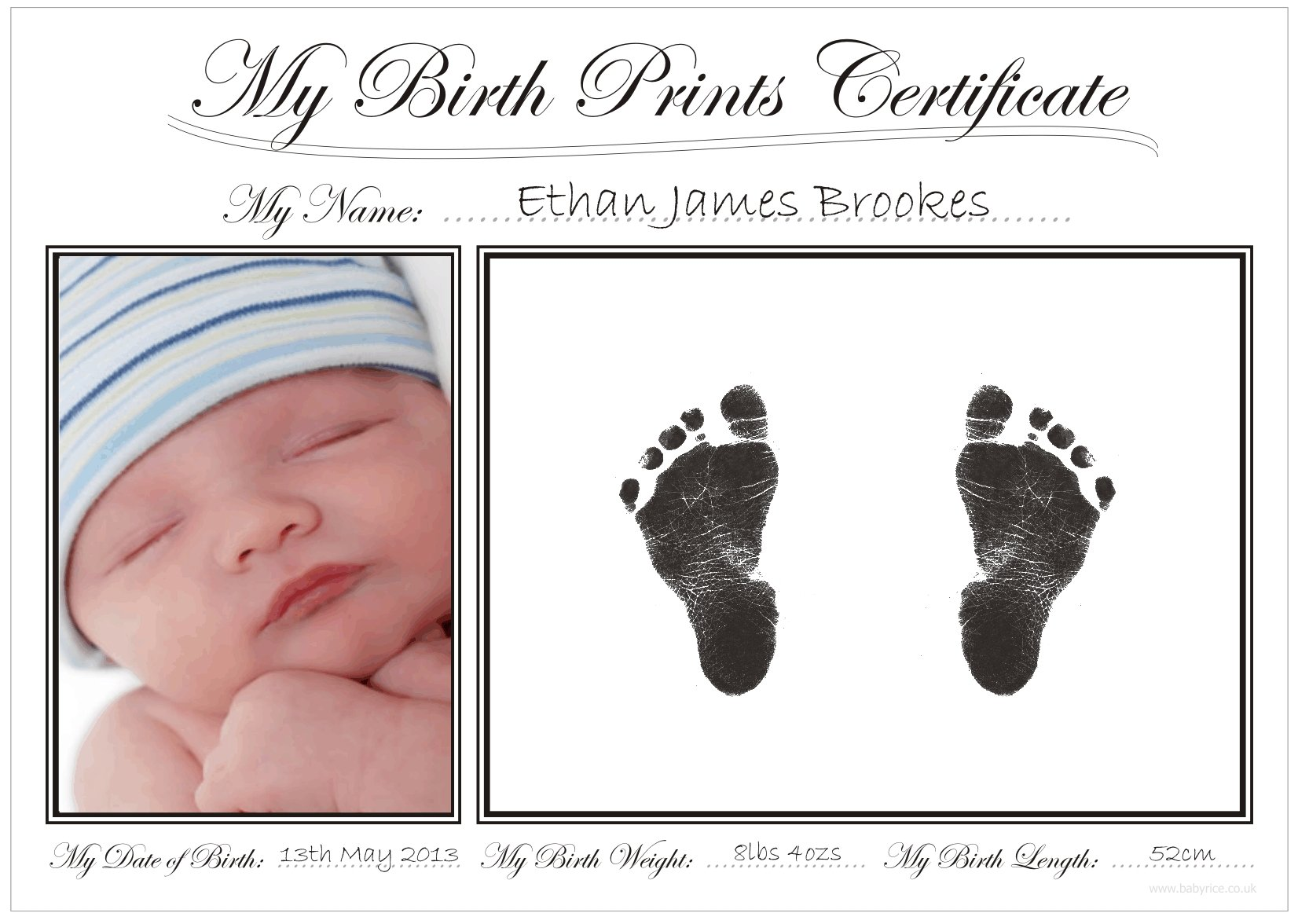 BabyRice New Baby Handprint & Footprint Certificate Kit / Boy Girl Unisex Birth Prints